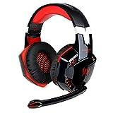 Cuffie da Gioco,KOTION EACH Cuffia Gaming a Padiglione con Microfono Stereo Bass LED Luce Regolatore di Volume per PC