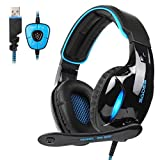 Sades SA902 Dolby Stereo Surround 7.1 USB Cuffia Gaming con Microfono da Gioco Gamer LED Luce Regolatore di Volume per PC Mac...