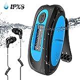 AGPTEK Lettore MP3 Subacqueo Impermeabile IPX8 con Clip Lettore Musicale da 8GB Nuoto MP3 con Auricolare,Cavo Audio e 3 paia di...