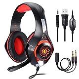 Samoleus - Cuffie con microfono, jack da 3.5mm, audio stereo, ideale per il Gaming, con LED e illuminazione sull'orecchio,...