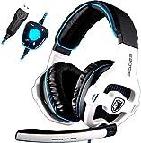 Sades Newly 7.1 Stereo Surround USB Cuffia Gaming con Microfono Noise Cancelling Stereo Bass da Gioco Gamer LED Luce Regolatore di...